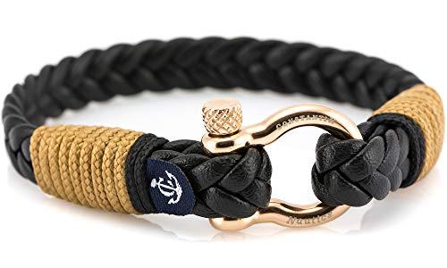 CONSTANTIN NAUTICS SAIL WITH US Maritimes Armband aus Leder, handgemacht, für Damen und Herren, mit Edelstahl Verschluss 4mm CNJ #10027 19cm
