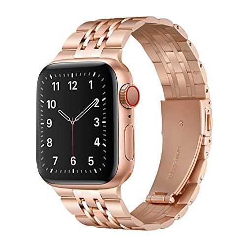 QAZNZ Metallarmband Kompatibel mit Apple Watch Armband 40mm 38mm. Sieben Perlen Edelstahl Ersatzband für iWatch Serie 6 & 5/4/3/2/1,SE(38mm 40mm,Roségold)
