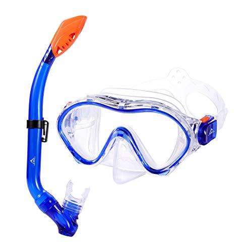 Kinder Schnorchel Set Tauchmaske Taucherbrille Volle Trockene Schnorchel Mit Großen Augen Für Jungen Und Mädchen Junior Schnorchelausrüstung (BLAU)