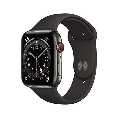 Neu AppleWatch Series6 (GPS+ Cellular, 44mm) Edelstahlgehäuse Graphit, Sportarmband Schwarz