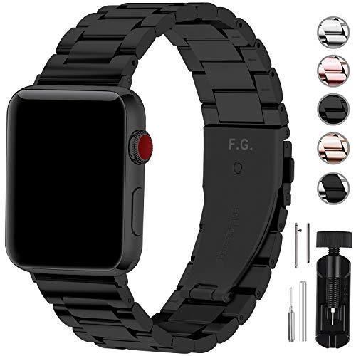 Fullmosa Für Apple Watch Armband 44mm/42mm und 40mm/38mm, Rostfreier Edelstahl Ersatzband für iWatch/Apple Watch Series SE/6/5/4/3/2/1 44mm/42mm Schwarz
