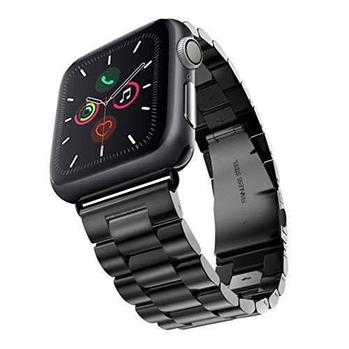 Evershop 42mm Watch Armband Kompatibel für Apple Watch 5 4 3 2 1, iWatch Armband Prämie Edelstahl Uhrenarmband Armband Metallhaken Kompatibel für Apple Watch Alle Modelle 42/44mm (Schwarz)