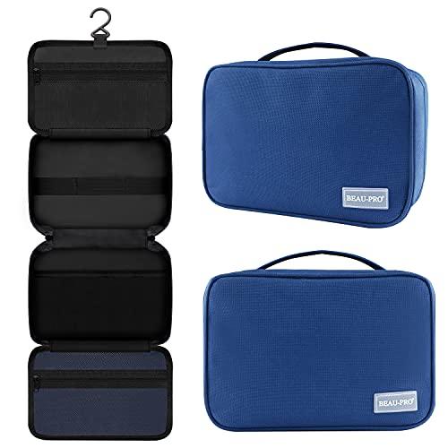 BEAU-PRO Tragbar Reise Kulturbeutel, Herren Damen Unisex Waschtasche, Große Kosmetiktasche, Aufhängen Kulturtasche für Geschäftsreise, Tourismus und Ferien (Quadrat - Blau)