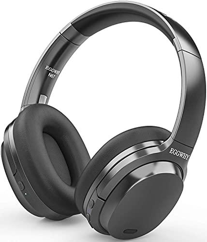 EGGWHY Active Noise Cancelling-Kopfhörer, kabellose Over-Ear-Bluetooth-Kopfhörer mit CVC 8.0-Mikrofon, 30-Stunden-Spielzeit, hochauflösendes Audio, Deep Bass, Memory Foam-Ohrmuscheln (Black)
