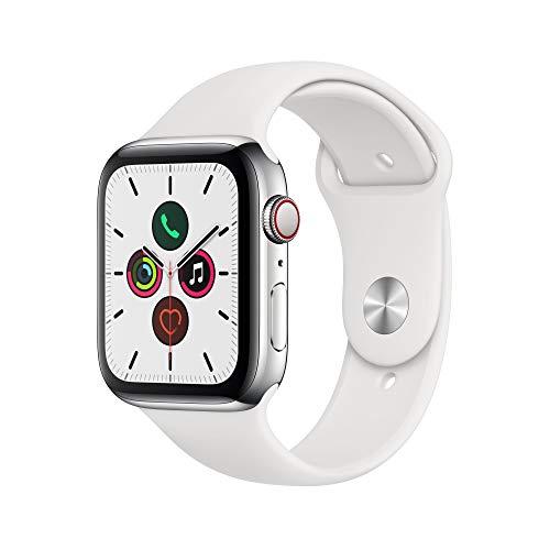 Apple Watch Series 5 (GPS+Cellular, 44 mm) Edelstahlgehäuse - Sportarmband Weiß