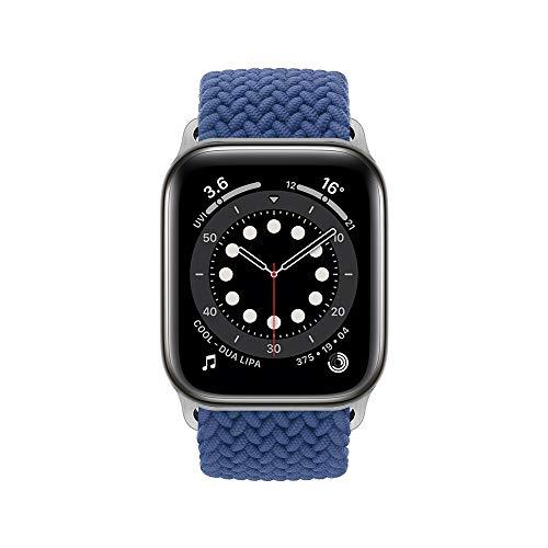 InvokerTech Braided Armband Kompatibel für Apple Watch 40/38mm 44/42mm, Gewebtes Solo Loop Ersatzarmbänder Kompatibel mit iWatch Series 6/5/4/3/2/1/SE (44/42mm - S, Atlantik Blau)