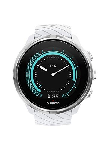 Suunto 9 Unisex Multisport-GPS-Uhr, Über 25h Batterielaufzeit, Wasserdicht bis 100m, Herzfrequenzmessung, Farbdisplay, Mineralkristallglas, Weiß, SS050143000