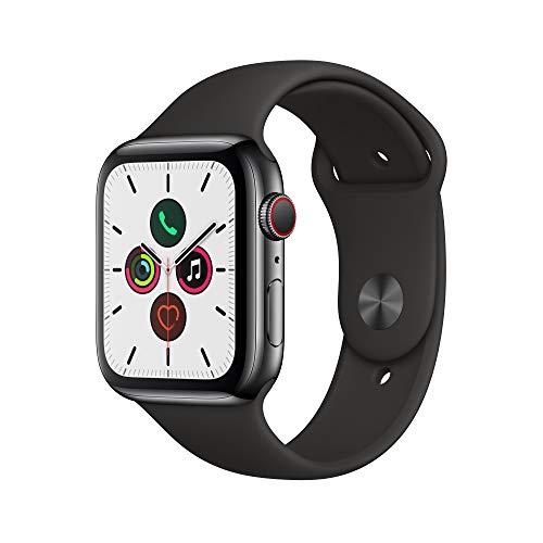Apple Watch Series 5 (GPS+Cellular, 44 mm) Edelstahlgehäuse Space Schwarz - Sportarmband Schwarz