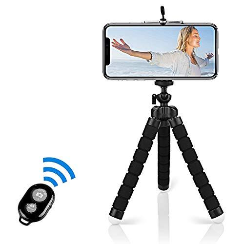 Handy Stativ, Alfort Smartphone Stativ Flexibel Mini Dreibeinstativ Universal Handy Halterung Halter Kamera Ständer mit Bluetooth Fernsteuerung Shutter für iPhone/Galaxy/Honor/Xperia/Redmi (Schwarz)