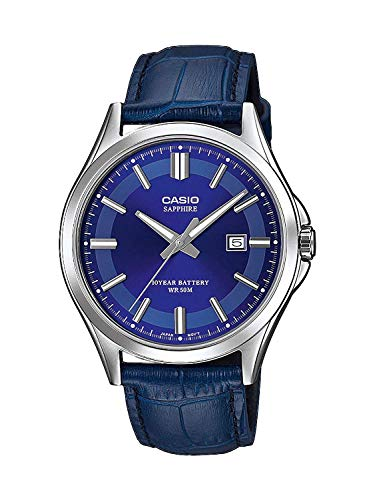 CASIO Herren Analog Quarz Uhr mit Leder Armband MTS-100L-2AVEF