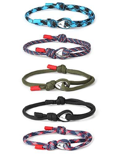 sailimue 5 Pcs Seil Nylon Cord Armband für Herren Damen Geflochtenes Armband Skipper Set Segeltau Surfer Einstellbar Armband