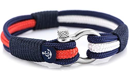 CONSTANTIN NAUTICS SAIL WITH US Maritimes Armband aus Segeltau, handgemacht, für Damen und Herren, mit Edelstahl Schäkel-Verschluss 4mm CNB #3014 19 cm
