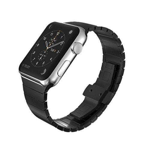 KADES kompatibel mit Apple watch Series 6 Series 5 Series 4 40mm Armband, Edelstahl-Gliederarmband für iWatch Series 1,2,3 38mm, Schwarz
