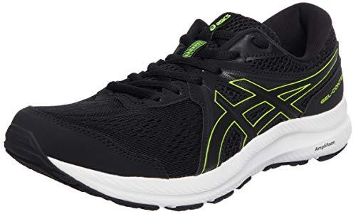 ASICS Herren Gel-Contend 7 Road Running Shoe, Black/Hazard Green, 42 EU