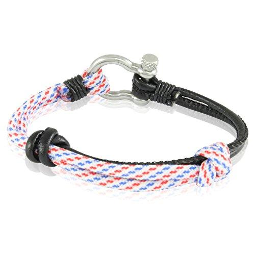 Skipper Surfer-Armband mit Knoten aus Nylon und Leder für Damen und Herren - Weiß Blau Rot/Schwarz 7236