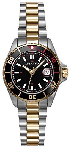 ASSARTOWatches ASD-9424T/B-BLK Seapearl-Series Bicolor Damen-Taucheruhr mit Schweizer Uhrwerk und Saphirglas, Damenuhr, Edelstahluhr, Quarzuhr, Sportuhr, Armbanduhr, Uhr