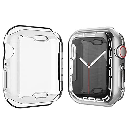 Marryself Hülle mit für Apple Watch Series 7 Hülle Mit Panzerglas Displayschutz, 360°Rundum Schutzhülle, Ultradünne TPU Hardcase für iWatch (41MM, Transparent)
