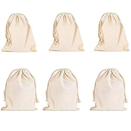 Baumwollbündel Drawstring Taschen,6 Stück Kleine Beutel Hochzeitstasche Geldbeutel Geschenkbeutel Geburtstagstasche (16 * 18cm)