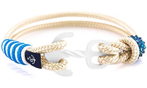 CONSTANTIN NAUTICS SAIL WITH US Maritimes Armband aus Segeltau, handgemacht, für Damen, mit Edelstahl Ankerverschluss und Swarovski Schmuckstein CNB #7083 19 cm