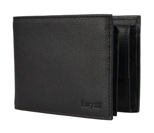 bugatti Herren Portemonnaie aus Echt Leder im Querformat, Schwarze Geldbörse für Männer - Schwarz 1608