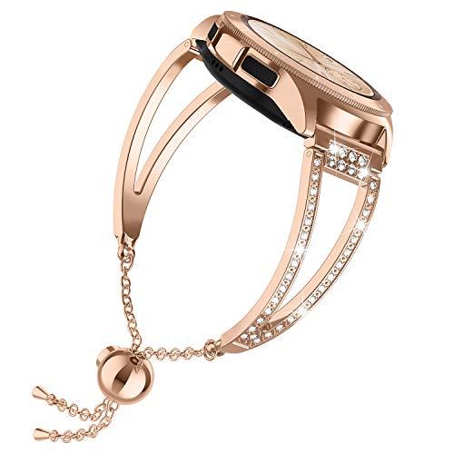 Ownaco Kompatibel für Samsung Galaxy Watch Active 2 Armband 40mm Rose Gold Bänder Frauen Für Damen Galaxy Watch 42mm Bands Metall Schmuck Edelstahl Armreif Uhrenarmband Armbänder 20mm