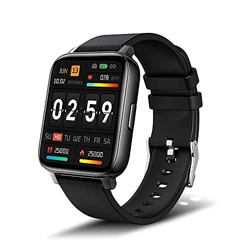 iporachx Smartwatch für Damen Herren, 1.69 Zoll Fitnessuhr Armbanduhr mit Schrittzähler Pulsuhr Schlafmonitor IP68 Wasserdicht Fitness Tracker Sportuhr Musiksteuerung, Herzfrequenz,Kalorien, Schwarz