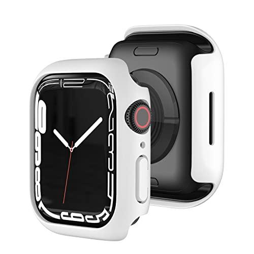 Marryself Hard Hülle Mit Panzerglas Kompatibel mit Apple Watch Series 7 45mm, Vollschutz, Blasenfreie, Gegen Kratzer, Stürze, Transparent Hülle Panzerglasfolie (M)