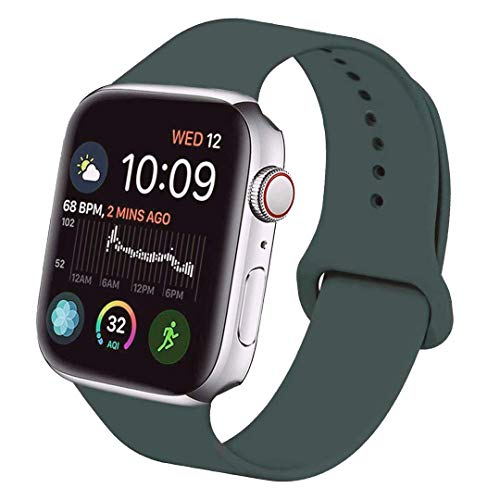 Tervoka Ersatz Armbänder für Apple Watch Armband 44mm 42mm, Weiche Silikon Ersatz Armbänder für iWatch Armband Series 5/4/3/2/1, S/M, Piniengrün