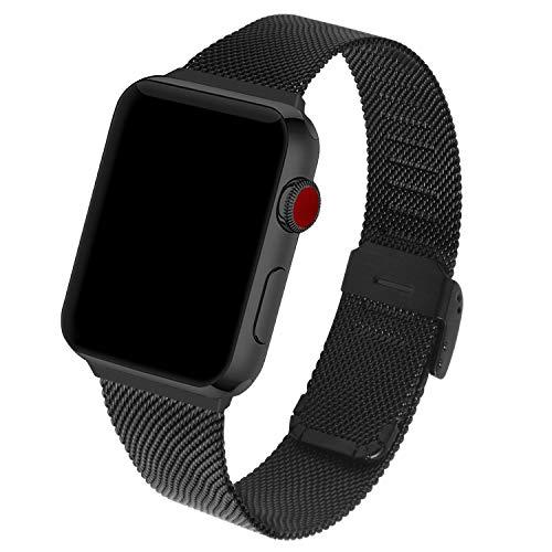 GerbGorb Edelstahl Mesh Apple Watch Armband Kompatibel für iWatch 42mm 44mm, Uhrenarmband für Apple Watch Series 5/4/3/2/1, (38mm/44mm Schwarz