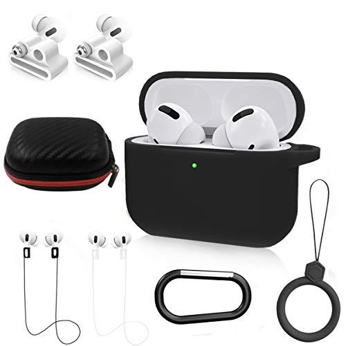 NANTING Kopfhörer-Fall-Schutzhülle für Airpods Pro, 8 in 1 für Kit Airpods Pro Zubehör, Silikonhülle für Apple Airpod Gen3 mit Ring/Armband Airpods Pro Halter/Schlüsselbund/Tragebox (Schwarzes)