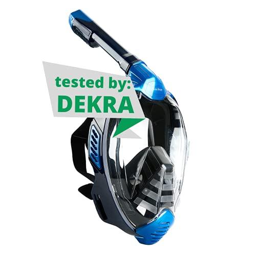 Khroom® von DEKRA® geprüfte CO2 sichere Schnorchelmaske Vollmaske | bekannt aus YouTube | Seaview X - Tauchmaske für Erwachsene und Kinder (Blau, L/XL)