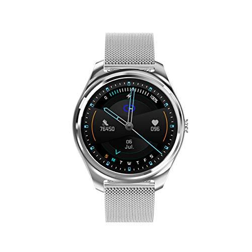Mintsin Smartwatch, Fitness Armband Tracker Voller Touch Screen Uhr IP68 Wasserdicht Armbanduhr Smart Watch mit Schrittzähler Pulsmesser Stoppuhr für Damen Herren Sportuhr für iOS Android (Silber)