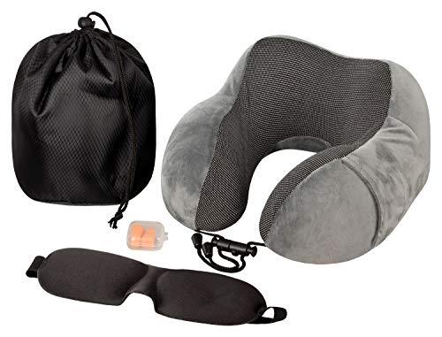 N-PIR Premium Reisenackenkissen I Verbessertes Set 2020 I Flugkissen mit Schlafbrille und Ohrstöpsel I Nackenkissen für entspannte Flugzeug-Reise I Schlafkissen für entspannte Nächte