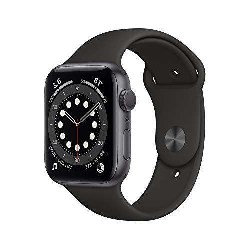 Neu AppleWatch Series6 (GPS, 44mm) Aluminiumgehäuse Space Grau, Sportarmband Schwarz