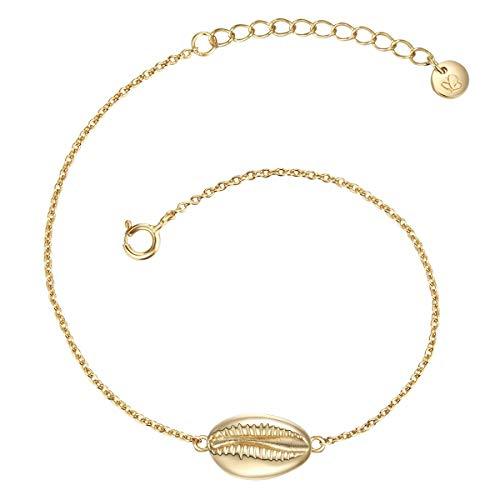 Glanzstücke München Damen-Armband Muschel Sterling Silber gelbvergoldet 17 + 3 cm -Arm-Schmuck gelb-gold maritim Arm-Kettchen