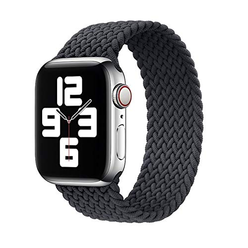 NIORFOA Elastischen Nylon Geflochtene Solo Loop-Bügel for Apple Watch Band 6 SE 5 3 Bänder 44mm 40mm Gurtband Armband foriWatch Series 6 5 4 2 (Band Color : Silver Grey, Size : M(42mm-44mm))