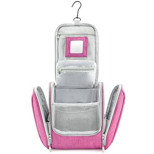 GO!elements® Kulturbeutel Kulturtasche zum Aufhängen Herren & Damen | Kosmetiktasche groß Mann Frauen für Koffer & Handgepäck | Waschtasche Reise-Tasche, Farbe:Pink
