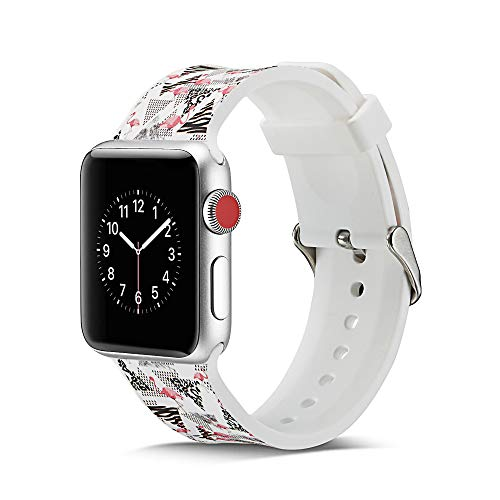 CHENPENG Ersatzgurte Kompatibel mit Apple Watch 1/2/3/4, Soft Silicon Ersatzbänder Weiche, atmungsaktive Silikonbänder für Damen,F,38MM