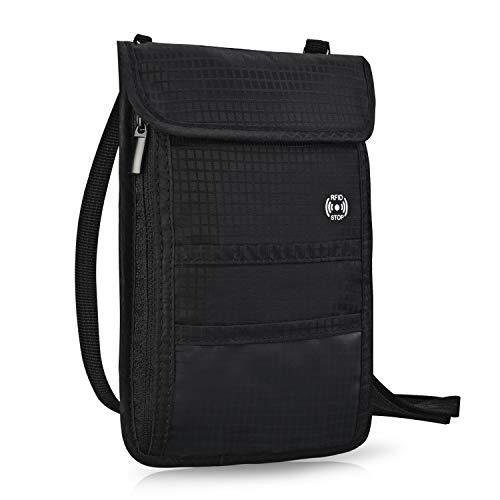 Brusttasche Reisepass Brustbeutel mit RFID-Schutz Wasserfeste Brusttasche für maximale Sicherheit für Smartphone und Reise-Dokumente - Leichte Halsgeldbörse zum Umhängen für Unisex, Kinder HOPAI