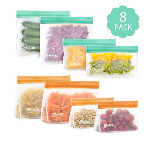 Lebensmittel Beutel Wiederverwendbare, 8 Pack Sandwich Snack Taschen Küche Beutel für Obst Gemüse Snacks Fleisch und Brot