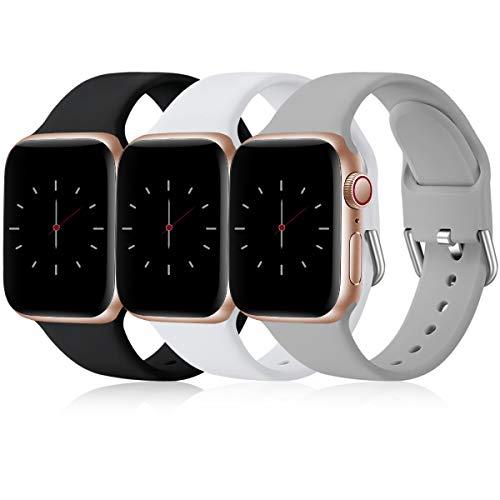 Wepro 3 Stück Armband Kompatibel mit Apple Watch Armband 38mm 42mm 40mm 44mm, Weiche Silikon Ersatz Armband Kompatibel mit iWatch Series 6, 5, 4, 3, 2, 1, SE, 38mm/40mm-S/M, Schwarz/Weiß/Grau