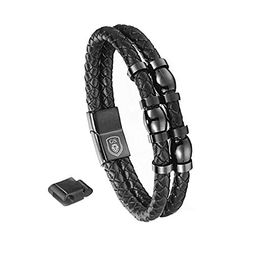 GENTLEMAN SYLT Armband Herren ROYAL Echtleder, Lederarmband schwarz Herrenarmband 21cm