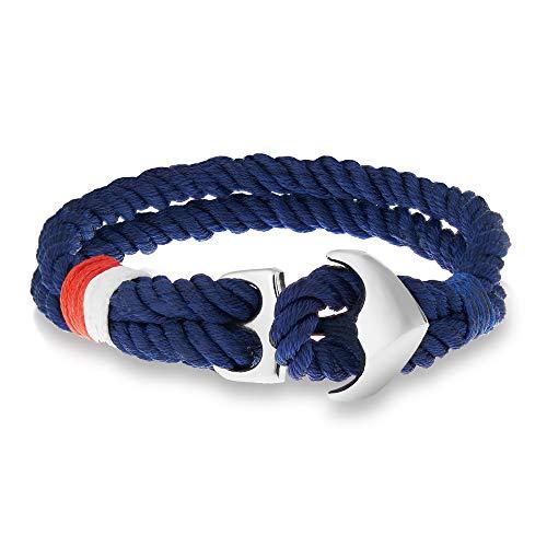 WOLFLOCK Anker Armband Damen und Herren   maritimer Schmuck Männer und Frauen   schwarz & blau   Nylon Segeltau   Anker Edelstahl   Ankerarmband unisex (blau, 22)
