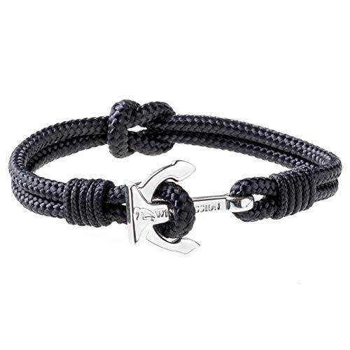 Wind Passion Premium Segeltau Maritim Schwarz Edelstahl Anker Armband für Männer Frauen, Größe Small