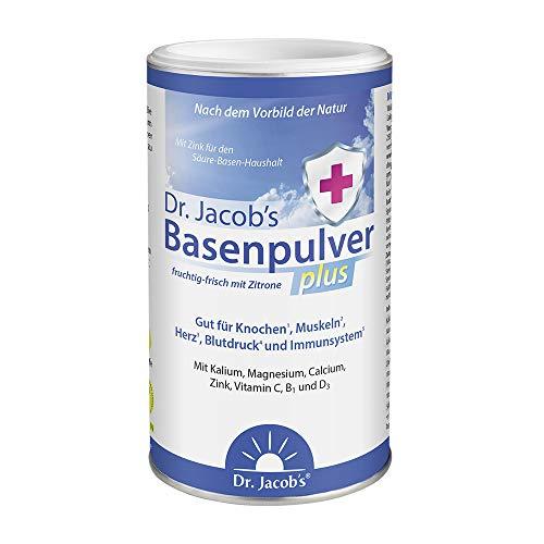 Dr Jacob's Basenpulver plus mit echter Zitrone I für mehr Energie, Muskeln, Knochen, Herz und Blutdruck I Kalium Calcium Magnesium Zink I Vitamin C D B1 I auch bei Diäten I 300 g Basen-Pulver vegan