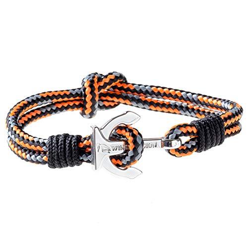 Wind Passion Premium Segeltau Maritim Orange Edelstahl Anker Armband für Männer Frauen, Größe Medium
