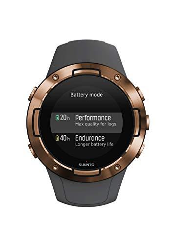 Suunto 5 Unisex-GPS-Multisportuhr für Erwachsene, Mineralglas, Edelstahl/Silikon, grau/kupferfarben