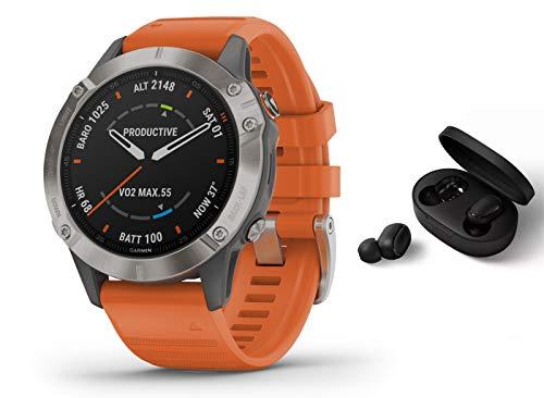 Garmin Fenix 6 Pro Saphir/Sapphire Titanium - GPS Multisportuhr - grau/Titan/orange inkl. Bluetooth Headset