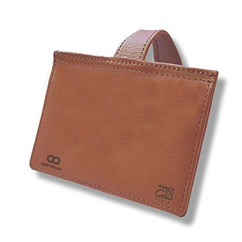 Reise Portmonee aus Leder mit Gravur | Sicherheit durch RFID-Schutz und Gürtelschlaufe | hochwertiges, braunes Echtleder | 4 Steckfächer für bis zu 12 EC-, Kredit- und Anderen Karten oder Geldscheine