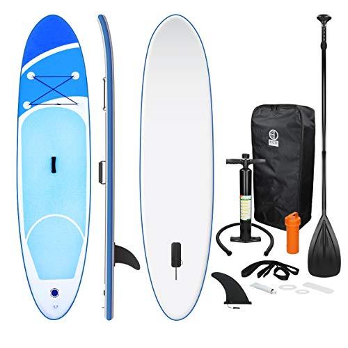 ECD Germany Aufblasbares Stand Up Paddle Board | 308 x 76 x 10 cm | Blau | PVC | bis 120kg | inkl. Pumpe Tragetasche und Zubehör | SUP Board Paddling Board Paddelboard Surfboard | verschiedene Modelle
